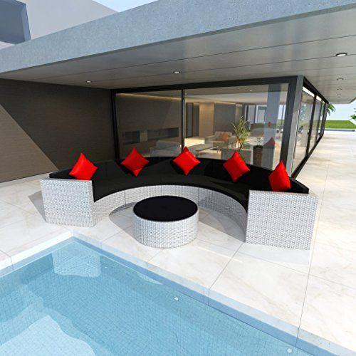 vidaXL Salon de jardin demi-rond en polyrotin blanc vidaXL… | Maison ...