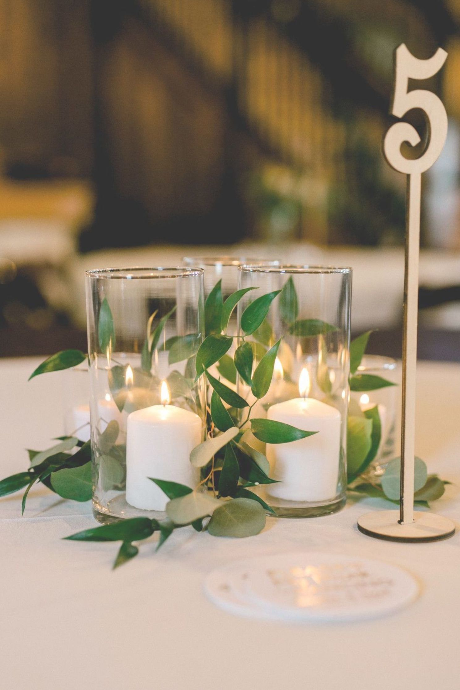 Natural Bohemian Wedding Centerpiece Candle Greenery Gold Wedding Centerpi Gold Table Numbers Wedding Wedding Candles Table Candle Wedding Centerpieces