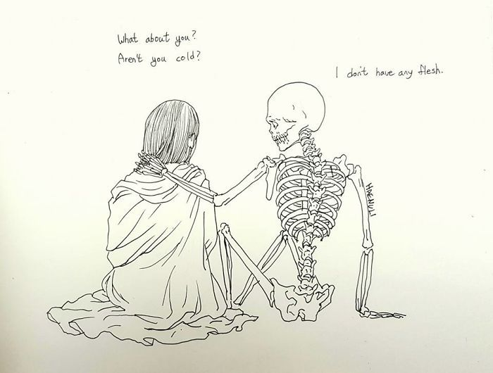 Line Art Couple : Haenuli shin illustre sa dépression avec son couple la mort