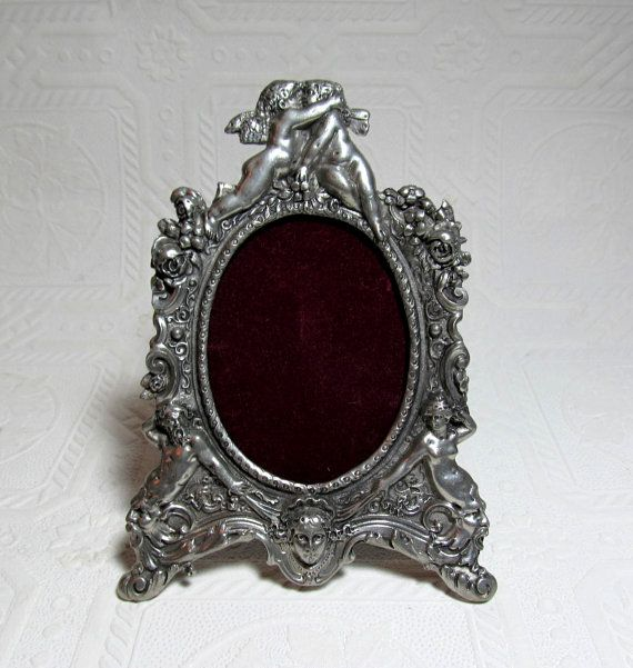 Ornate Elias Fine Pewter Picture Frame Cherubs Angels Roses