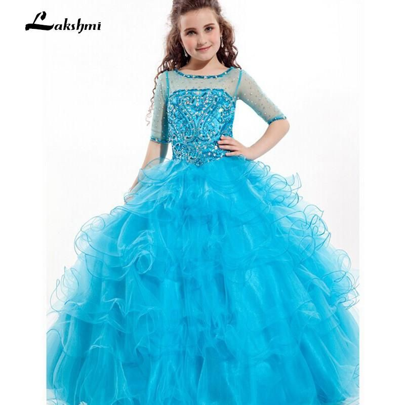 2018 Ritzee Girl Pageant Dresses Half Sleeves Little Girl Prom Gown