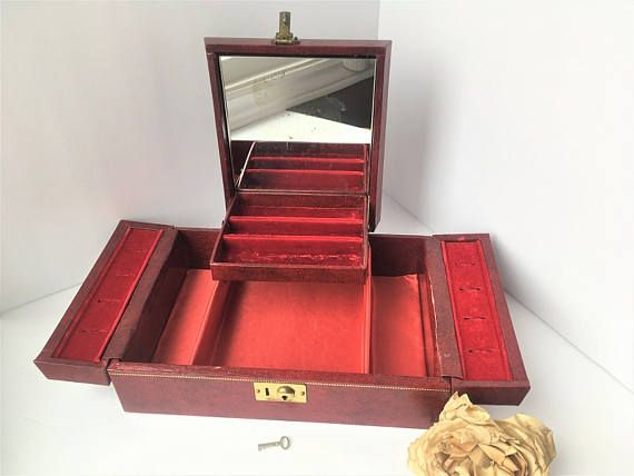 Vintage Jewelry Box with Red Velvet Lining Red Jewelry Box Retro