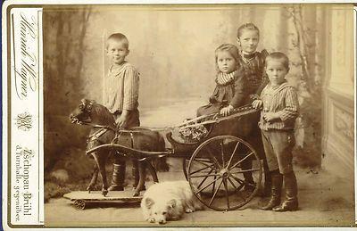 Vintage Cabinet Photo Child Horse Carriage Dog 1890 Card Boy Girl Chien Cheval   eBay
