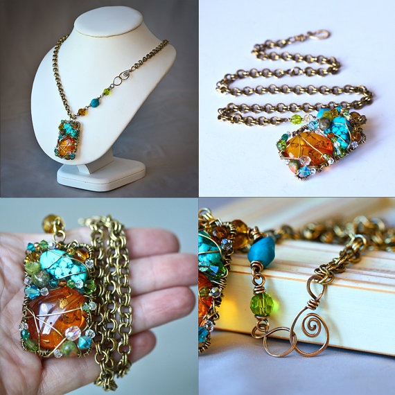 Amber and Turquoise Free Form Rectangle Chain Maille Brass Wire ...