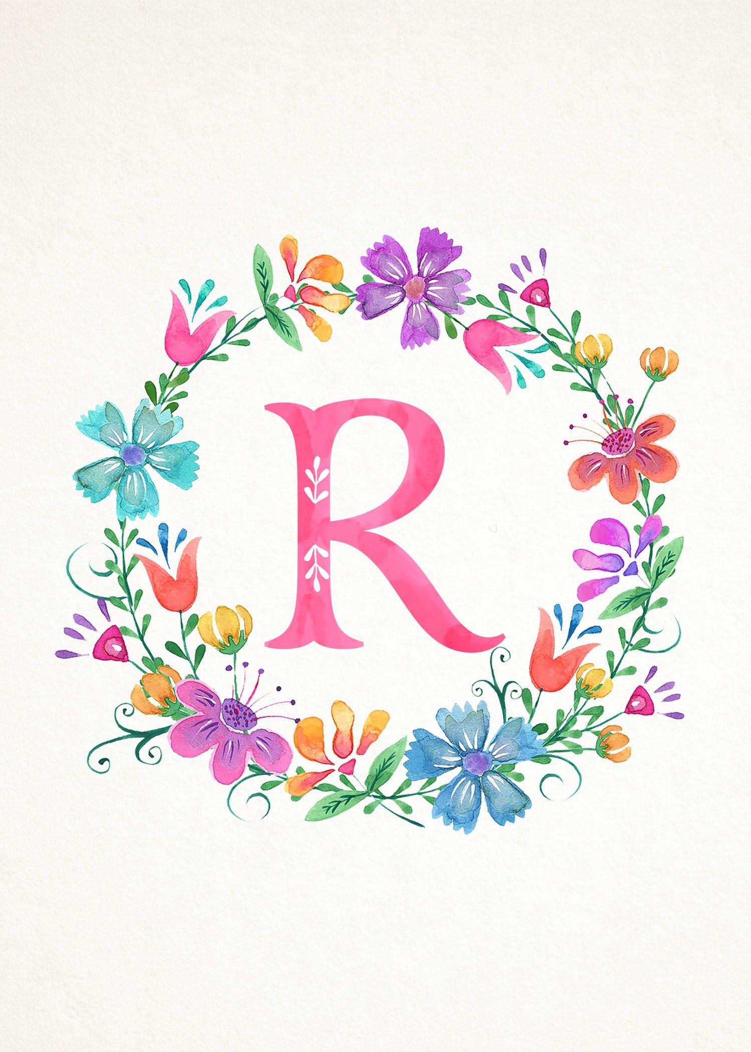 Tcm Floral Wreath Monograms 5x7 R Jpg 1 500 2 100 Pixels Lukisan Huruf Seni Surealis Seni Inspirasi