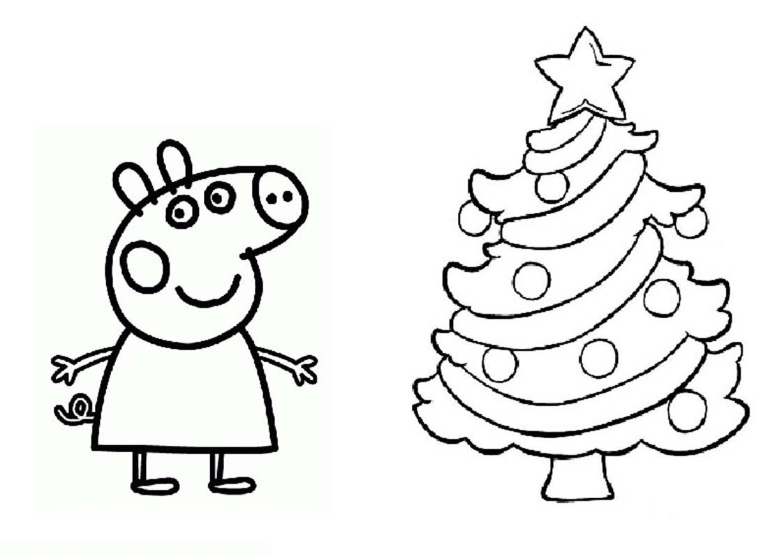 Free Printable Peppa Pig Coloring Pages Peppa Pig Coloring Pages Christmas Coloring Pages Christmas Tree Coloring Page
