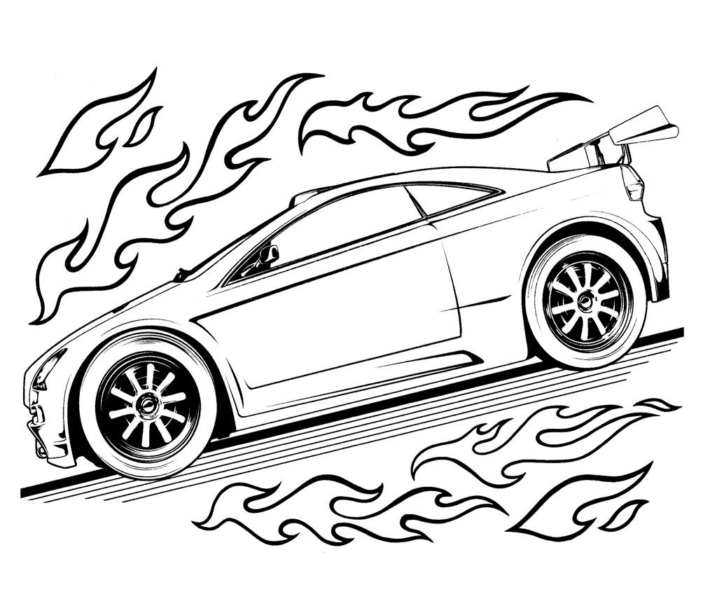 Hot Wheels Speed Turbo Coloring Page For Kids  Kids Coloring