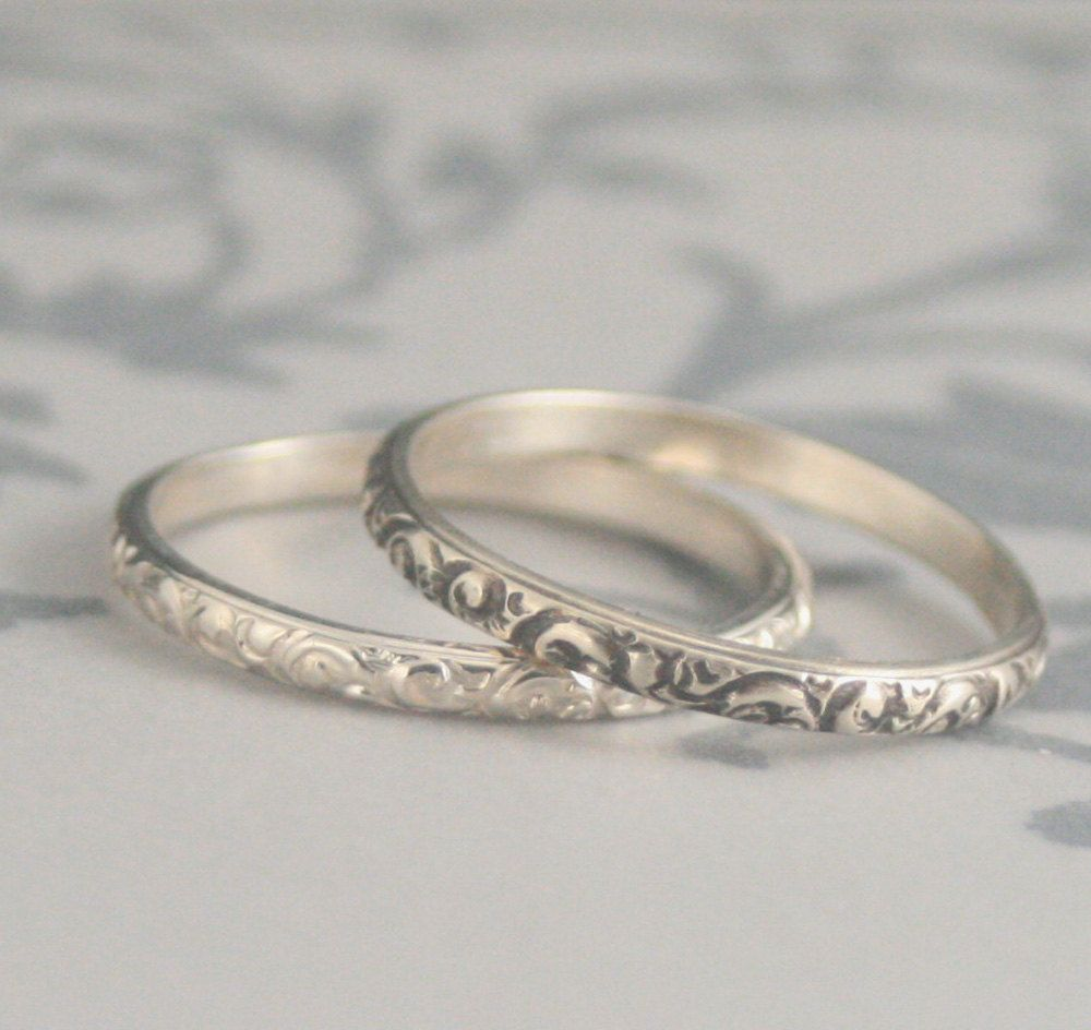 Rococo In The Disco Thin Sterling Silver Swirl Patterned Wedding Bands Or Stacking Rings Made Your Size