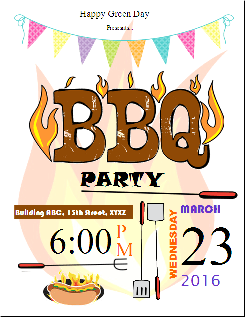 Bbq Party Invitation Flyer Template  Publisher Flyers