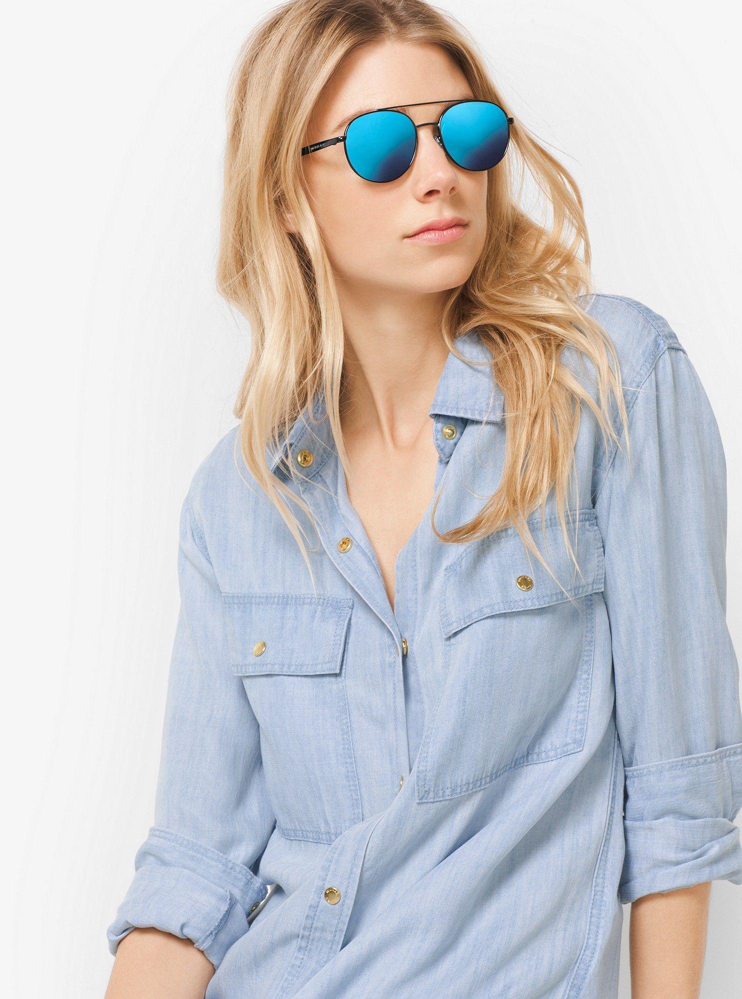 0f9add3667f031 Michael Kors Lon Rounded Aviator Sunglasses - Rose Gold Flash