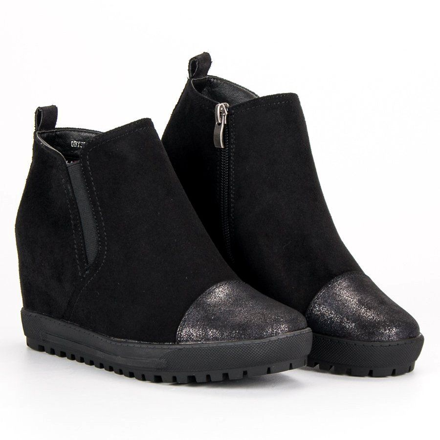 Filippo Zamszowe Botki Na Koturnie Czarne Shoes Chelsea Boots Ankle Boot