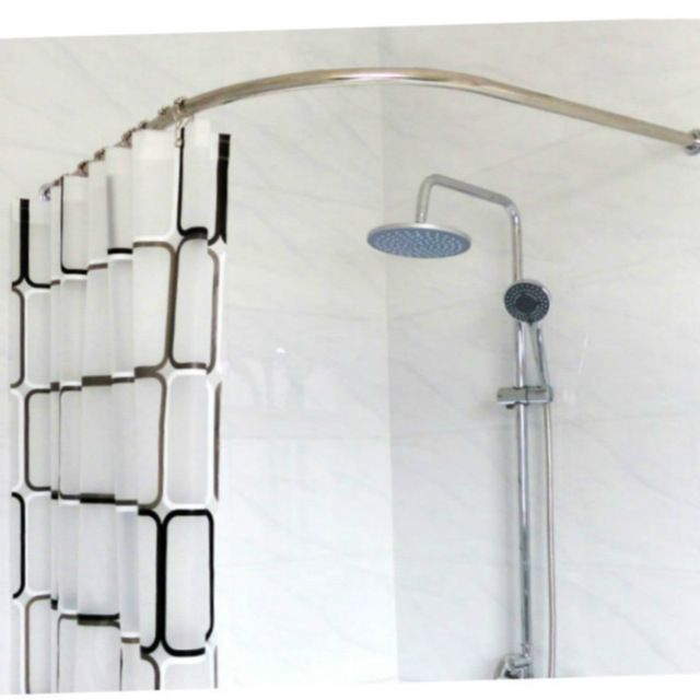 Stainless Steel Curved Shower Curtain Pole Rod Rail Bathroom Produc ...