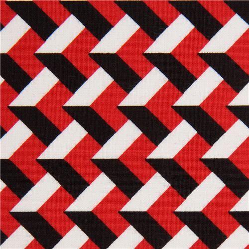 Red White Black 3d Pattern Fabric With By Robert Kaufman Usa Geometric Pattern 3d Pattern Tattoo Pattern