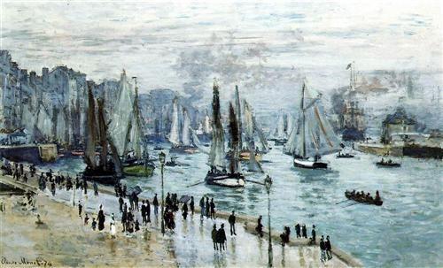 Barcos de pesca que salen del puerto , Le Havre
