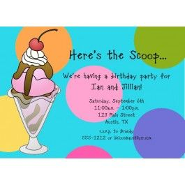 Ice Cream Party Invite Wording