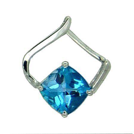 Blue Topaz Pendant in 14 kw https://www.goldinart.com/shop/necklaces/colored-gemstones-necklaces/blue-topaz-pendant-14-kw #14KaratWhiteGold, #BlueTopaz