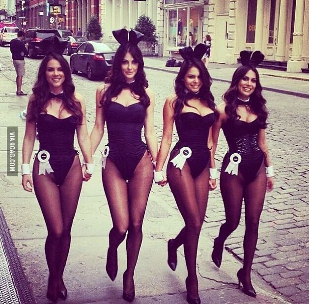 c712a59ffe324 four bunnies strutting down the street Playboy Bunny Costume Halloween