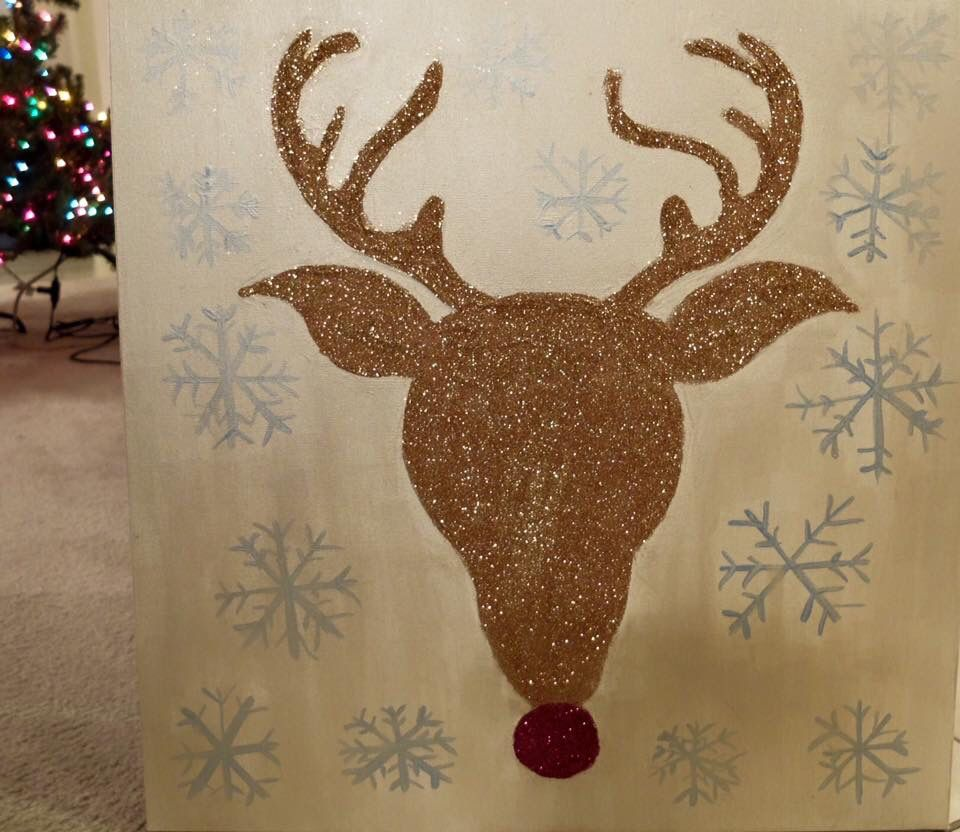Reindeer glitter painting