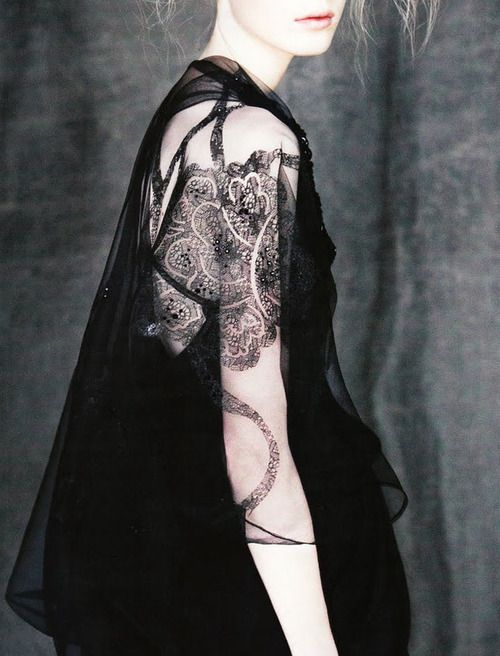 Sheer Elegance... sheer flowing fabric with black lace pattern detail - elegant outfit; style love