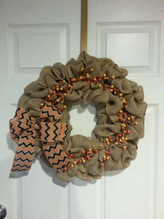 Fall Burlap Wreath by CrafttasticWreaths on Etsy
