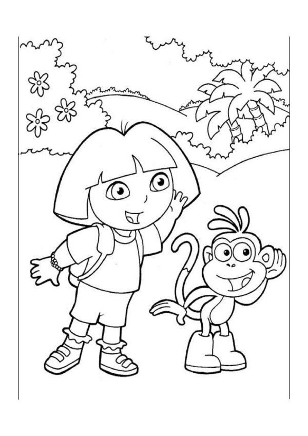 Dora Explorer Tegninger til Farvelgning Printbare Farvelgning for