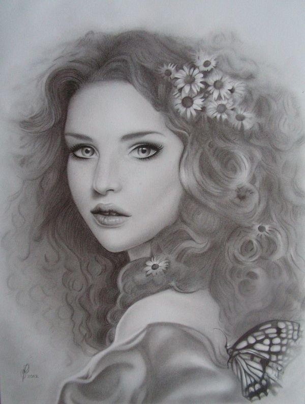 Pencil shading portrait beautiful girl
