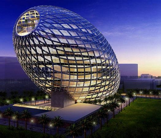 Cybertecture Egg Building, Mumbai, India. [Anyone, anywhere, seen an egg shaped like this? It should be righted, set next to the London Gherkin, and called the Olive. Put a gargantuan martini glass next to it and you might have something. Not much mind you, but something.]