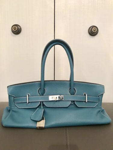 fc1f4194ed0d 100% Auth HERMES BIRKIN Shoulder Hand Bag 42cm Blue Jean Clemence Leather  PHW