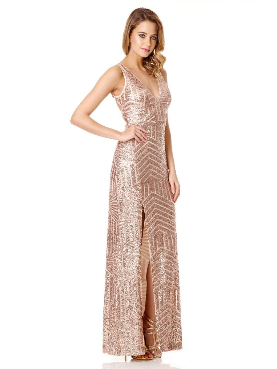 5faa2b24 Do you like? Rose Gold Sequin V Neck Zig Zag Maxi Dress - Quiz ...
