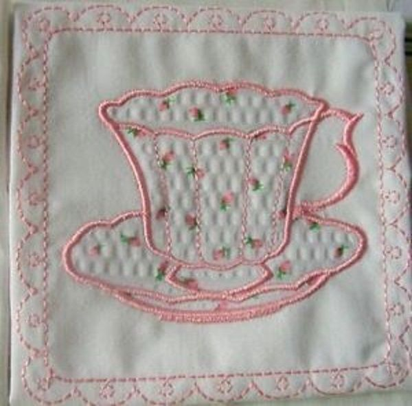 Rqq 2 Embroidered Applique Pink Rosebud Teacups