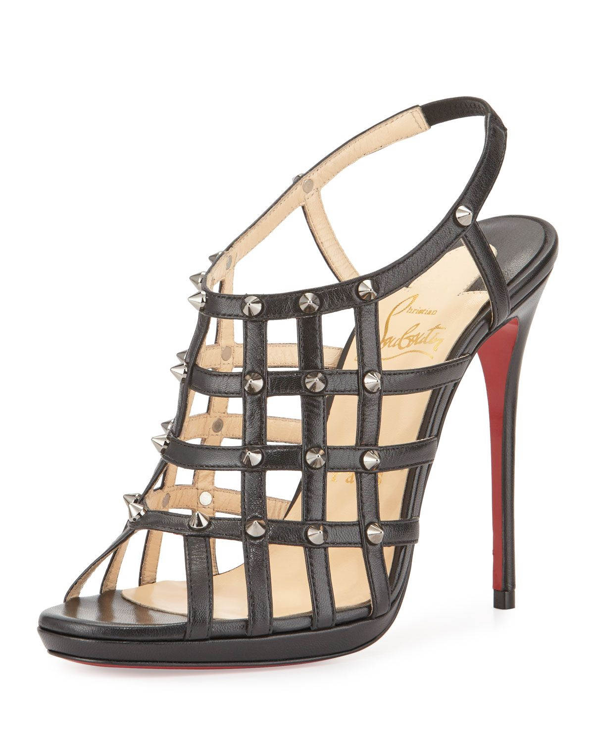 618164e94fb Guinievre caged leather red sole sandal black gunmetal christian louboutin  at neiman marcus jpg 1200x1500 Caged