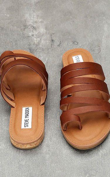 Steve Madden Hestur Cognac Leather Sandals - Best Chic Fashion