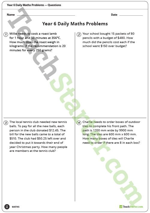 Daily Maths Word Problems - Year 6 (Worksheets) Teaching Resource ...