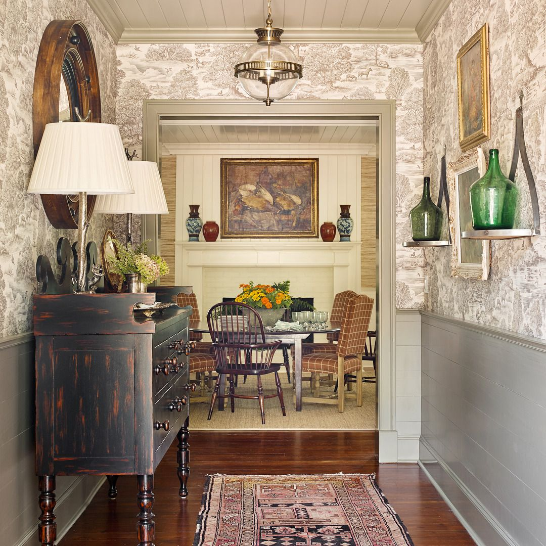Traditional hallway wallpaper  and that toile wallpaper u  Ideas for the House  Pinterest