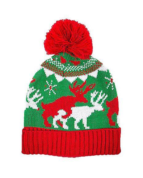 Ugly Sweater Reindeer Games Pom Beanie Hat - Spirithalloween.com