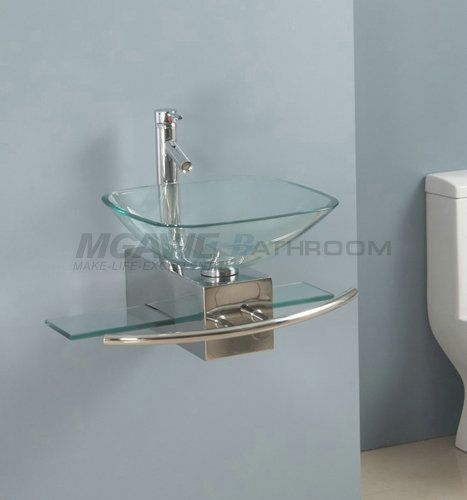 Glass Vessel Bathroom Vanity Square Glass Sink Clear Glass Sink