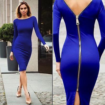 Hot Summer Womens Casual Night Club Bodycon Dress Long Sleeve Back Zipper  Dress d302dd880