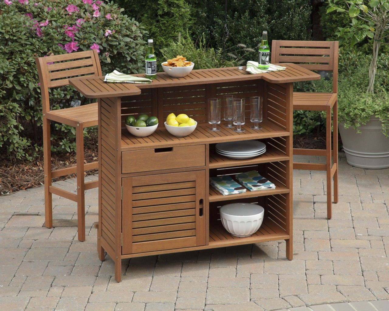 Outdoor Bar With Home Styles Montego Bay Cabinet Set Showcasing