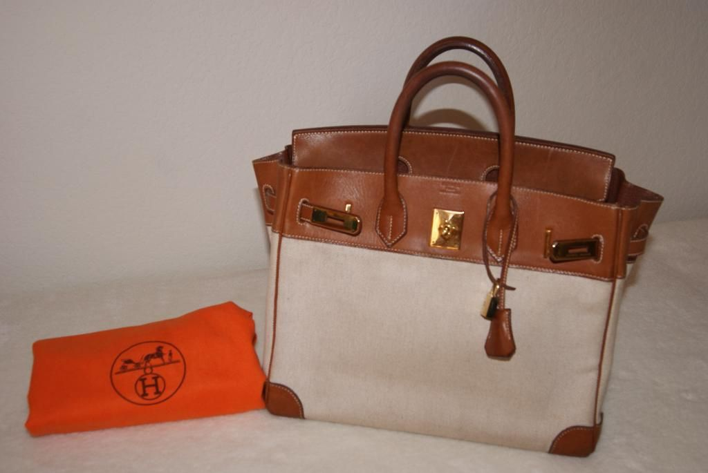 Hermes Hac 32 Birkin Natural Barenia Toile Canvas Gold Hardware ... c3c38b6c3f084