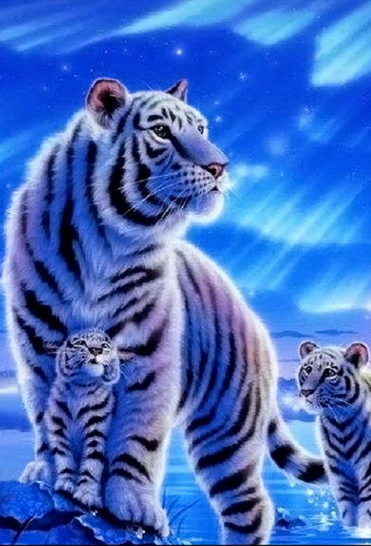 Tigre Blanc Avec Petits Animaux Les Plus Mignons Animation Animaux Dessin Animaux Mignons