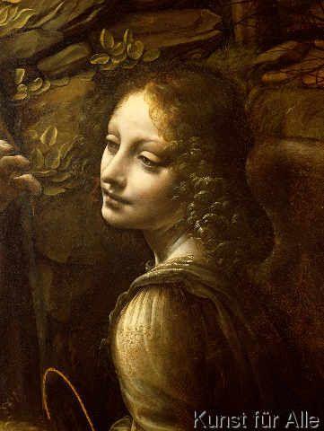 Leonardo da Vinci - Detail of The Virgin of the Rocks  detail of the angel, c.1508
