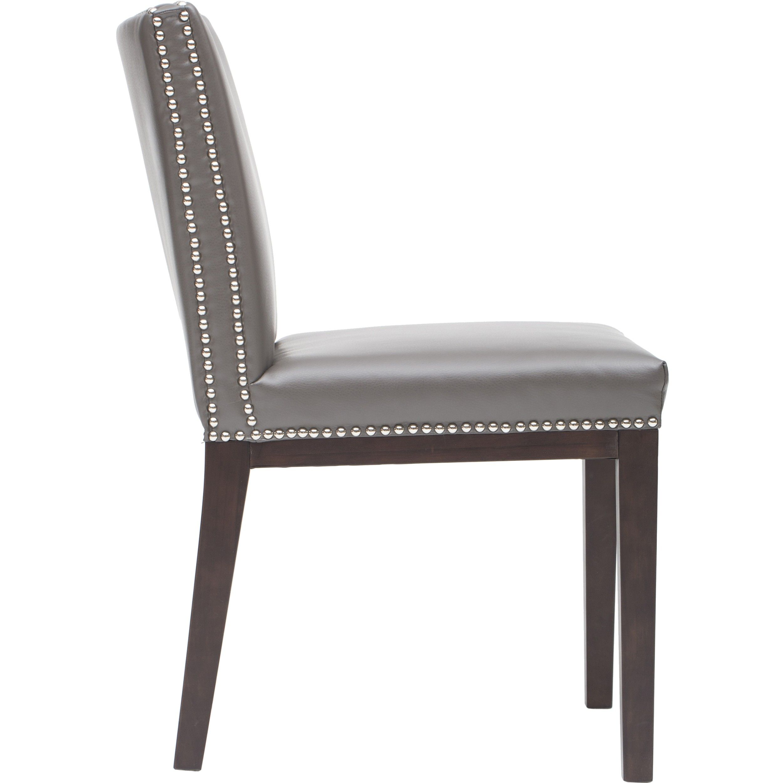 Leather Dining Chairs With Nailheads Gray And White Chair
