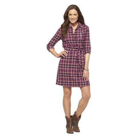 Women's 3/4 Sleeve Flannel Dress - Cherokee
