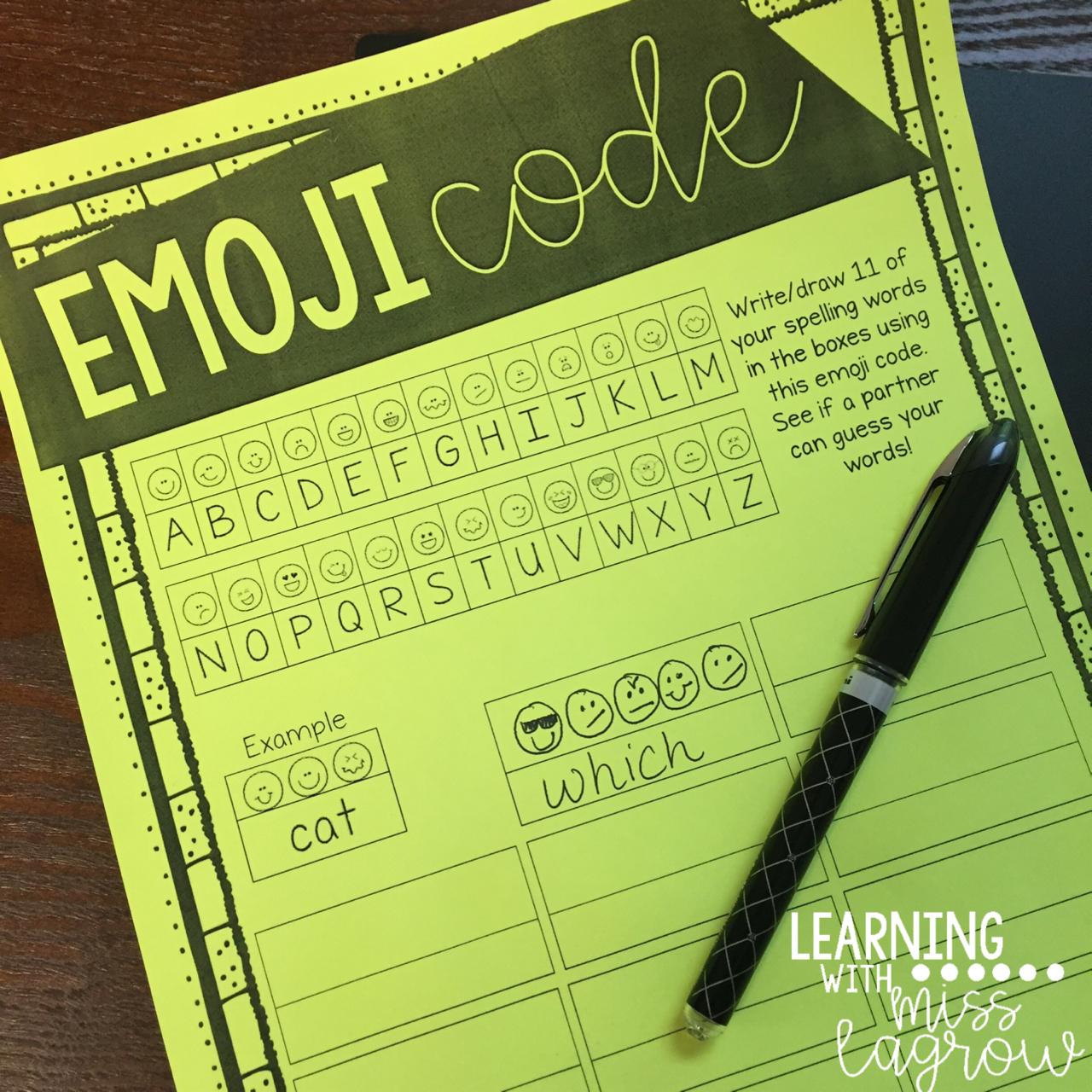 List Emoji Code Spelling Word Work Activity