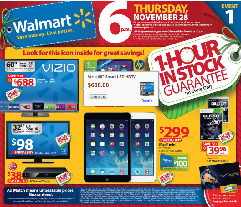 Walmart Black Friday Ads - IPad, VIZO tv | Walmart Black Friday ...
