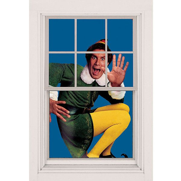 Buddy the Elf Christmas Window Poster (€9,08) ❤ liked on Polyvore featuring home, home decor, holiday decorations, christmas home decor, outside home decor and outdoor home decor