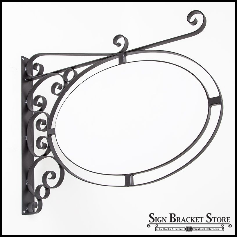 wall mount oval sign frame w scroll 46in x 30in white blank