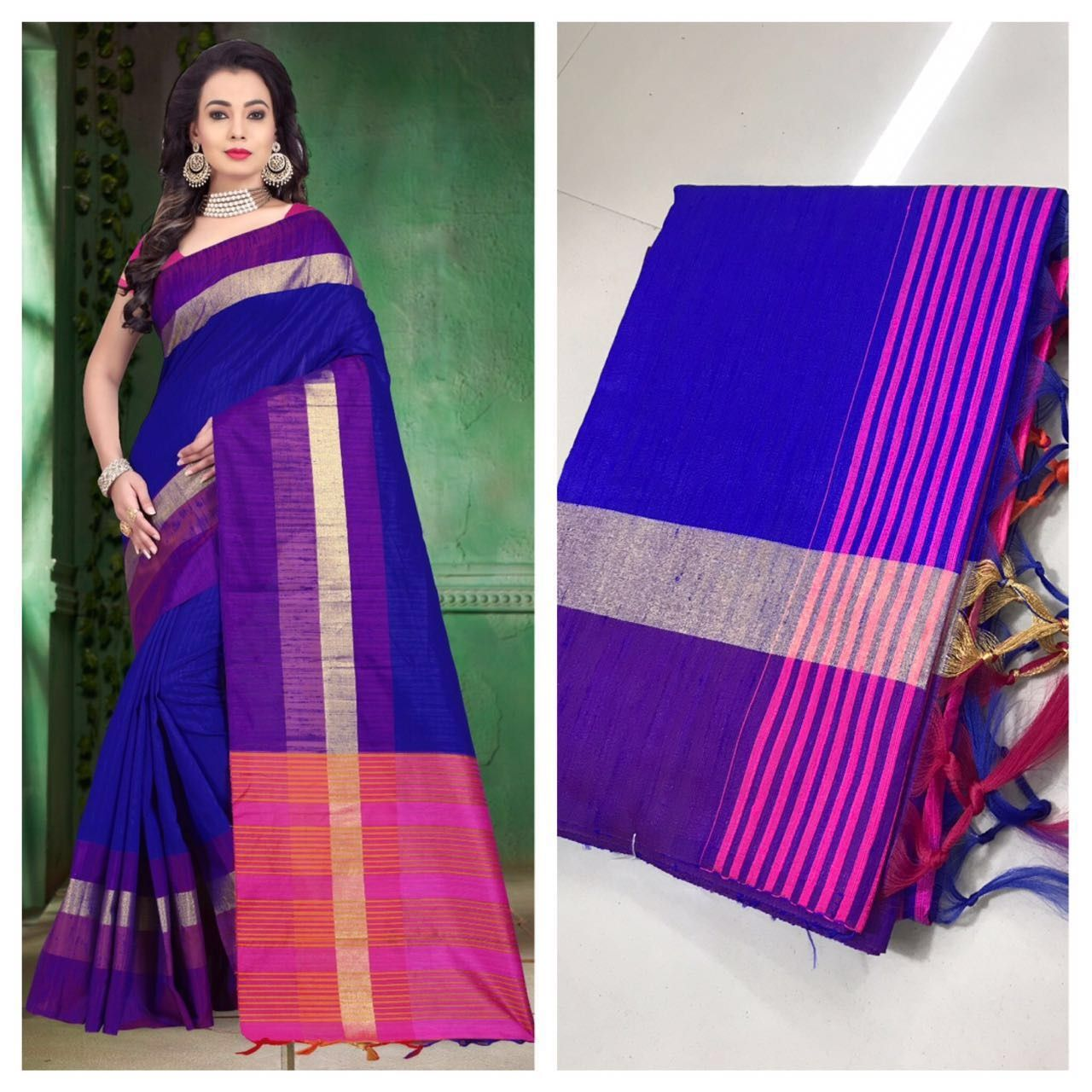 a3408bf4b33a6 (PID  102698) Raw silk saree with contrast pallu and contrast blouse piece