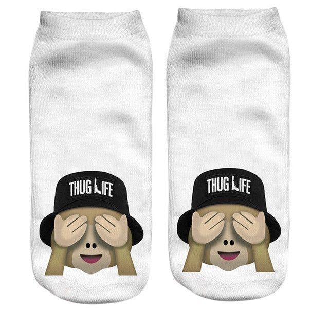 Cute Unicorn Harajuku Emoji 3D Print Socks Low Cut Ankle Women Girls Boat Sock