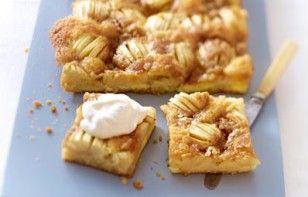 """Apfelkuchen mit Butter-Zucker-Kruste Rezept: Form,""""Vanille"""",Zucker,Milch,Äpfel,Zitronensaft,Butter,Vanillinzucker,""""Orange-Back"""",Salz,Eier,Mehl,Backpulver,fraîche,Zucker"""